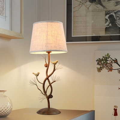 Cone Standing Table Lamp with Tree and Bird Single Light Beige Fabric Shade Loft Table Lighting for Bedroom