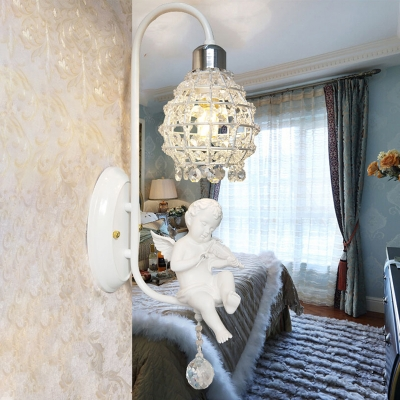 Crystal Globe Wall Lighting with White Angel Accents 1 Head Traditional Sconce Lamp