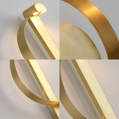 Curved Wall Mount Lighting with Metal Shade Mid Century Modern Led Wall Light Fixture in Brass