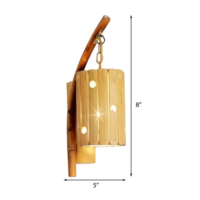 Cylinder/House/Kettle Suspender Wall Light Bamboo 1 Light Asian Mini Wall Sconce Lighting for Tea House