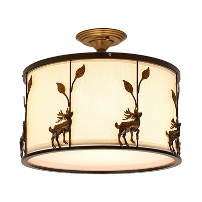 Fabric Drum Shade Semi Flush Mount with Deer Accents 3 Lights Loft Bedroom Semi Flush Lighting in Black