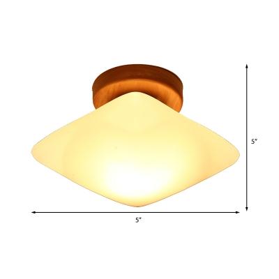 Frosted Glass Semi-Circle/Square Flush Ceiling Light Modern 1 Light Ceiling Flush Mount for Corridor