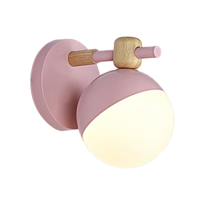 Global Wall Light Sconce Nordic Metal and Glass Wall Lighting 1 Head Gray/Pink/Yellow/Green Wall Mount Lamp for Stairway