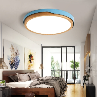 Macaron White/Blue Round Ceiling Fixture Metal and Wood 1 Light Ceiling Flush Mount for Bedroom, White/Stepless Adjusted