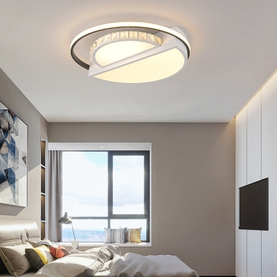 Modern Flushmount Light Metal Integrated Led Flush Ceiling Light in White for Living Room