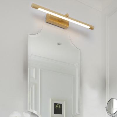 Nordic Cylinder Wall Mounted Vanity Light Indoor Led Vanity Lamp in Wood Grain