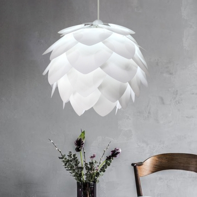 Plastic Pinecone Hanging Ceiling Light Nordic 1 Light White Pendant Lamp for Bedroom