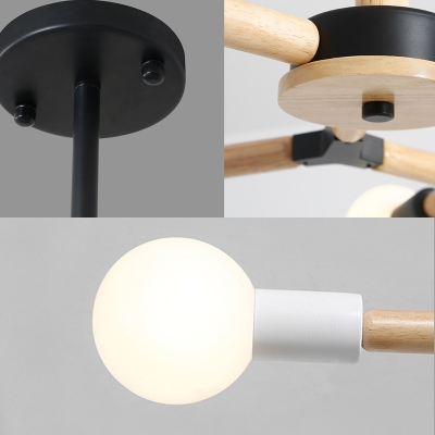 Rotatable Branch Hanging Ceiling Light Nordic Modern 3/6/9 Lights Wood Chandelier Light in Black/White
