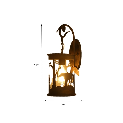 Rust Finish Cylindrical Lantern Wall Light with Leaf and Giraffe Pattern 1 Head Rustic Metal Wall Light Fixture for Library