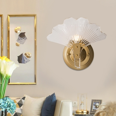 Rustic Ginkgo Leaf Wall Lighting Clear Ribbed Glass 1/3 Lights Bedside Wall Sconce in Gold