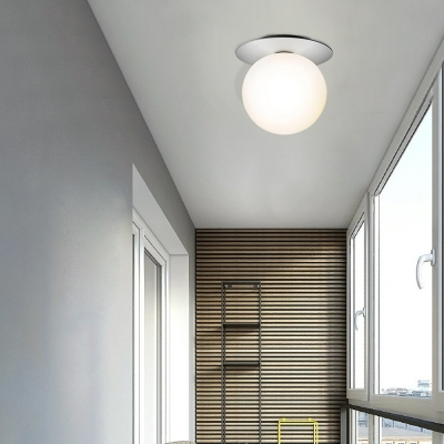 Silver/Gold Finish Orbit Flush Mount Fixture Modern 1 Light Close to Ceiling Lighting with White/Clear Glass Shade