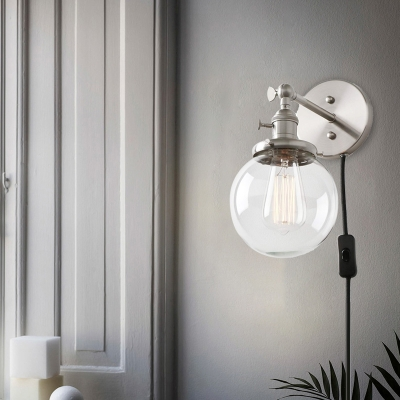 Spherical Wall Sconce Light Industrial Modern Clear Closed Glass 1 Light Outdoor Wall Mount Light for Porch in Aged Brass/Black/Silver