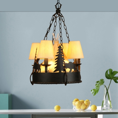 Tapered Chandelier Light with White Fabric Shade Country Style 7/8 Lights 17