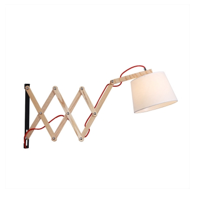 Wood Extendable Wall Lamp with Tapered Fabric Shade 1 Bulb Nordic Wall Mount Light