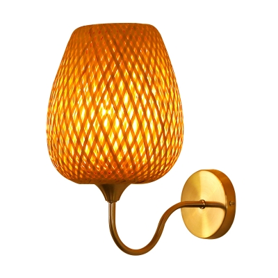 Woven Tapered Wall Sconce Light 1 Head Asian Bamboo Wall Mounted Light with Curved Arm