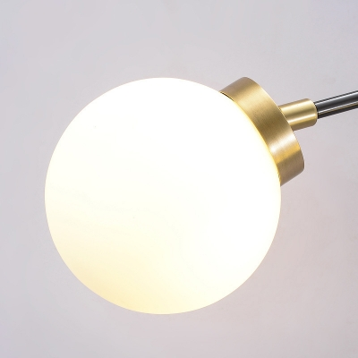 1/2 Lights Global Wall Mount Light Mid Century Modern Opal Glass Wall Sconce in Brass