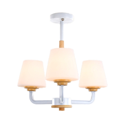 3/5/6/8-Light Tapered Chandelier Light Fixture with White Glass Shade Nordic Hanging Lamp in Grey/Green/Pink/White