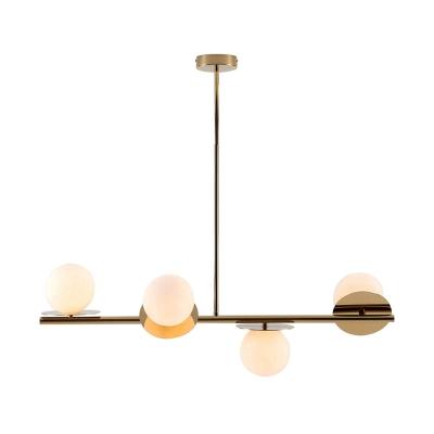 4 Lights Sphere Hanging Lamp Modern Style White Glass Kitchen Island Light in Black/Gold