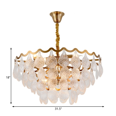 8/15 Lights Teardtop Pendant Lamp with Dimple Glass Shade Modernism Hanging Light in Gold, 25.5