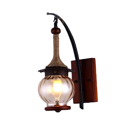 Bottle/Globe Wall Sconce Retro Style Frosted Glass Shade 1 Head Lighting Sconce in Black for Corridor