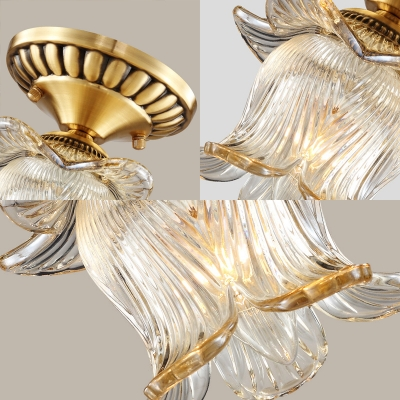 Clear Ribbed Glass Lotus Ceiling Light 1 Light Vintage Semi Flush Ceiling Lamp in Brass