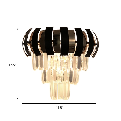 Crystal Prism Wall Sconce Modern 3 Lights Wall Light Fixture in Black for Corridor