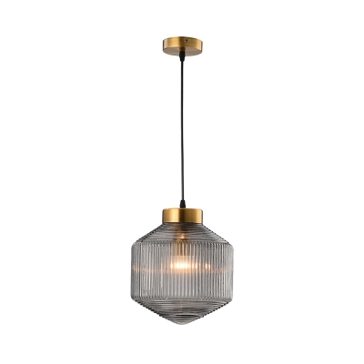 Drum Pendant Lighting Nordic Amber/Clear/Smoke Ribbed Glass 1 Light Suspension Lamp in Brass