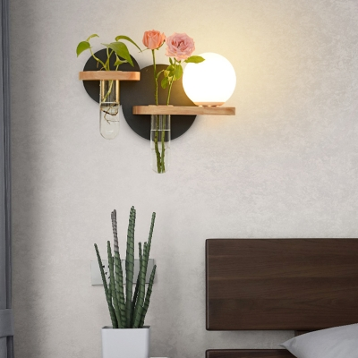 Globe Wall Lighting with Milk Glass Shade Simple 1 Head Sconce Light with Single/Double Ring Backplate in Black/Green