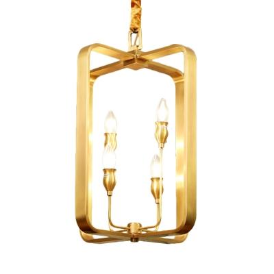 Gold Circle/Square Ceiling Pendant Light Metal 4 Lights Vintage Chandelier Lighting for Foyer