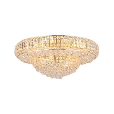 Gold Crystal Flush Mount Light Modern 23.5