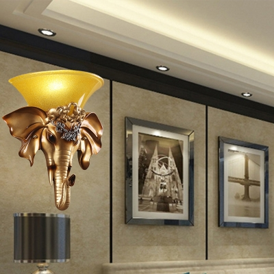 Loft Style Flared Wall Sconce Light Opal Amber Glass 1 Light Wall Mounted Light in Gold for Living Room