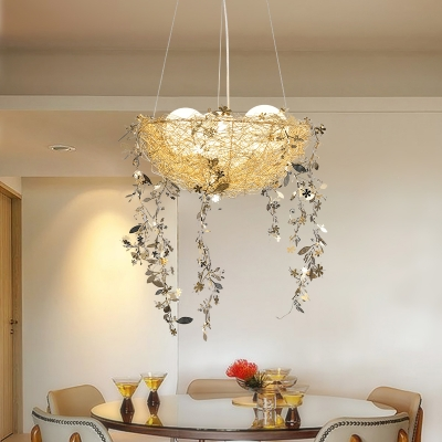 Modernism Bird's Nest Pendant Lamp Metal and Glass 4 Lights Hanging Chandelier Lighting in Gold/Silver