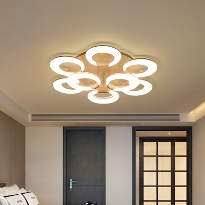 Multi Ring Semi Flushmount with Acrylic Shade Contemporary 3/5/9/12 Lights Integrated Led White Ceiling Light in Third Gear