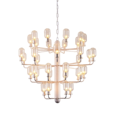 Multi Tiers Chandelier Lamp with Capsule Clear Glass Shade 15/35 Lights Modern Pendant Lighting in Black/Gold/White