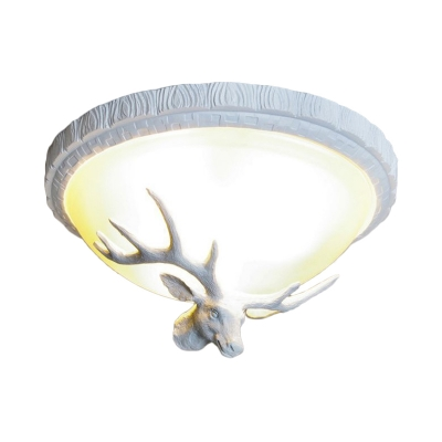 Opal Glass Bowl Flushmount Light with Deer Accents 3 Lights Loft Style Resin Flush Lamp in White