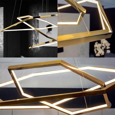 Polished Brass Geometric Chandelier Light Modernism Metal Led Pendant Lamp with Adjustable Cord