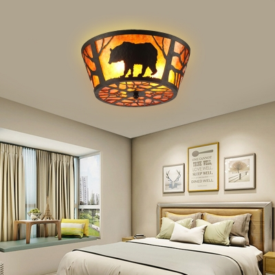 Round Flush Ceiling Light with Bear/Horse Pattern 3 Lights Marble Flushmount Lighting in Brown