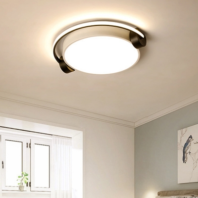 Unique White Headset Flush Mount Light Modern 16.5