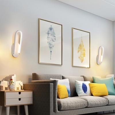 1 Light Mini Wall Mount Light Minimalist Metal Bedside Led Wall Lighting in Black/White