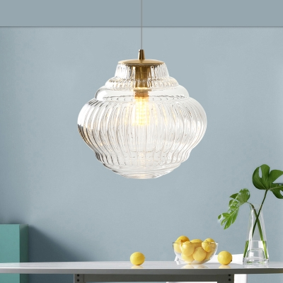 1 Light Sphere Hanging Light Modern Clear Ribbed Glass Pendant Lighting in Brass