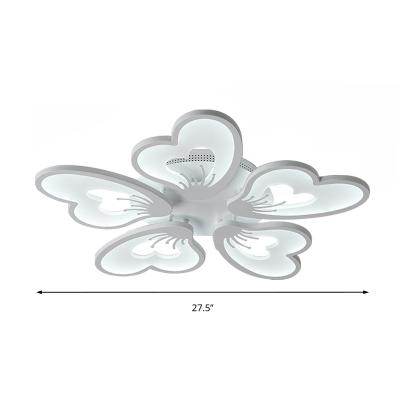 3/5 Lights Petal Flush Mount Ceiling Light Modern Metallic White Flush Lighting in Warm/White with Acrylic Diffuser