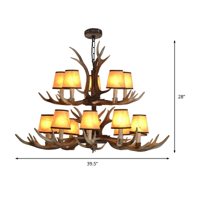 4/6/8/10/15-Bulb Conical Ceiling Chandelier with Resin Antlers Countryside Foyer Chandelier Light Fixture in Brown