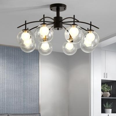 Ball Semi Flush Lighting With Sputnik Design 3 5 6 8 Light Clear Glass Flush Mount Light In Black Beautifulhalo Com