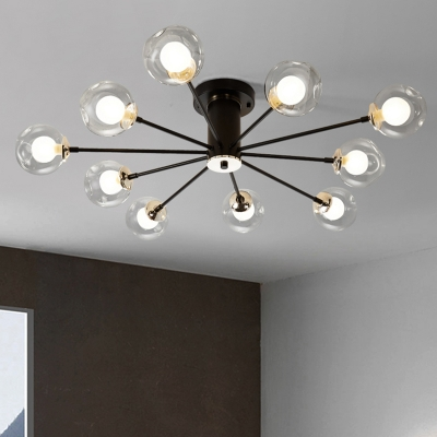Black/White Sputnik Semi Flush Lighting Modern 8/10 Bulbs Semi Flush Lamp with Bubble Clear Glass Shade