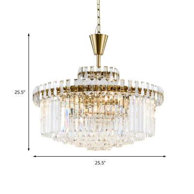 Brass Circle Chandelier Lamp Clear Crystal Shade 8/12 Lights 25.5