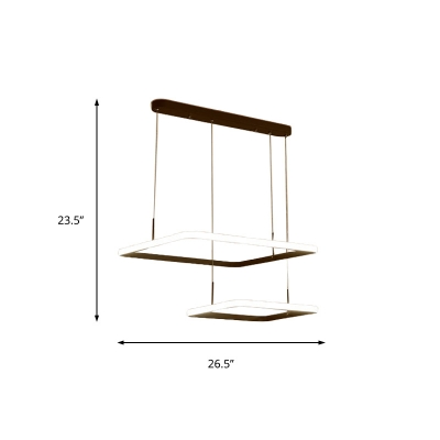 Brown Square Chandelier Lamp with Linear Canopy Metal 2/3/5 Lights Led Dining Room Lighting, White/Neutral/Warm