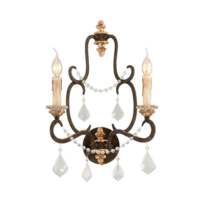 Distressed White Candle Wall Sconce Traditional Style 1 Light Metal Wall Lamp with Clear Crystal