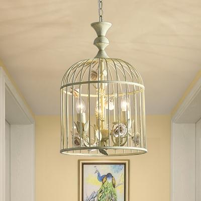 Foyer Birdcage Pendant Light with Rose Metallic 12.5
