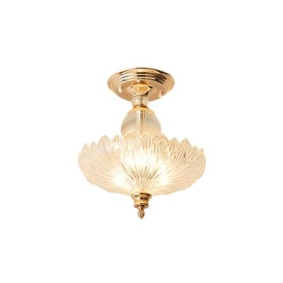Gold/Black Flared Glass Semi-Flush Mount Modern Metal Crystal Ceiling Light Fixture for Dining Room