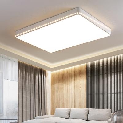 Gold/White Led Rectangular Flushmount Lighting Modern Simple Metal Flush Light with Diffuser, Warm/White Light